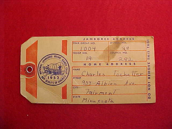 1953 NJ BAGGAGE TAG, USED,VERY GOOD CONDITION