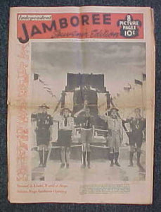 "1953 NJ NEWSPAPER, BSA NATIONAL JAMBOREE ISSUE OF THE LONG BEACH INDEPENDENT, SOUVENIR ISSUE, 16.5X23"", GOOD CONDITION"