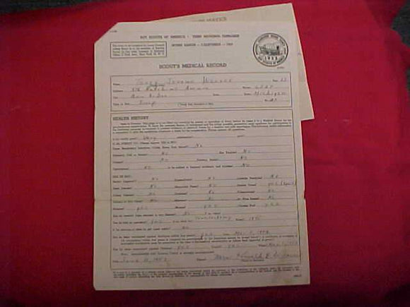 1953 NJ SCOUT'S MEDICAL RECORD, PHYSICAL, PORTAGE TRAILS COUNCIL, IRVINE RANCH, CALIFORNIA