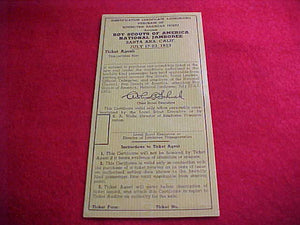 1953 NJ CERTIFICATE TO AUTHORIZE DISCOUNTED ROUND-TRIP RAILROAD TICKET, JULY 17-23, 1953