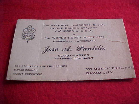 1953 NJ BUSINESS CARD, PHILIPPINE CONTIGENT SCOUTMASTER