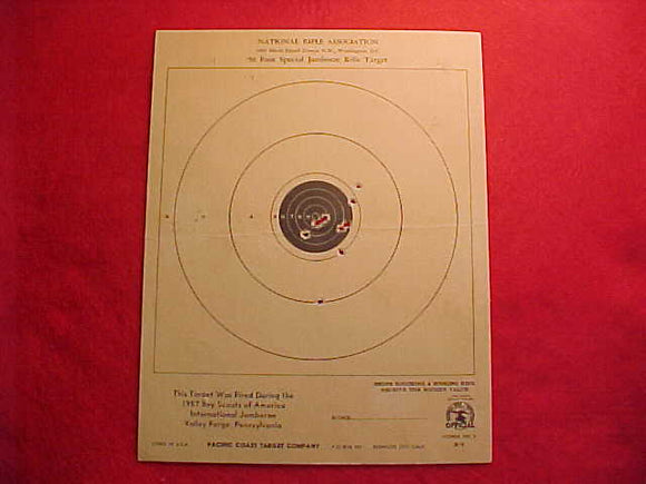 1957 NJ RIFLE TARGET, 22 CALIBER, NATIONAL RIFLE ASSOCIATION, USED