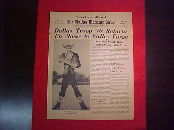 1957 NJ DALLAS MORNING NEWS, VALLEY FORGE EDITION, 7/12/57, CIRCLE TEN COUNCIL ISSUE
