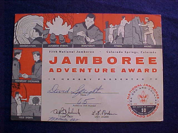 1960 NJ AWARD CERTIFICATE, JAMBOREE ADVENTURE AWARD, W/ SCOUT'S NAME