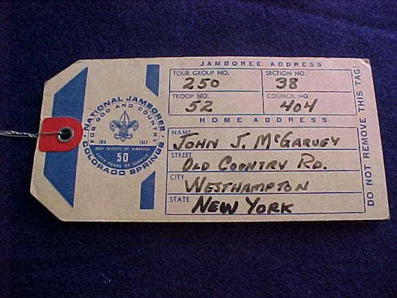 1960 NJ BAGGAGE TAG, USED