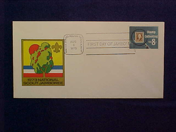 1973 NJ ENVELOPE, FIRST DAY OF JAMBOREE CANCELLATION, 8/3/73, PA, STAMP COLLECTING 8¢ STAMP