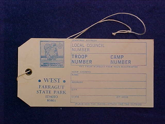1973 NJ BAGGAGE TAG, JAMBOREE WEST