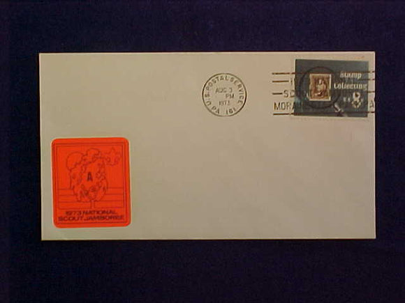 1973 NJ ENVELOPE, 8/3/73 NJ MORAINE STATE PARK CANCELLATION, TRADING POST A STICKER
