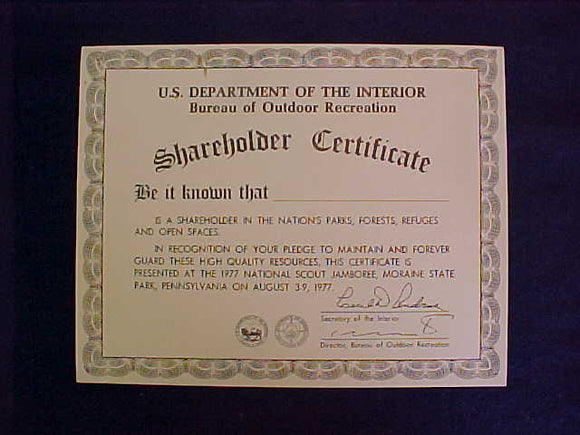 1977 NJ CERTIFICATE, US DEPT OF INTERIOR SHAREHOLDER