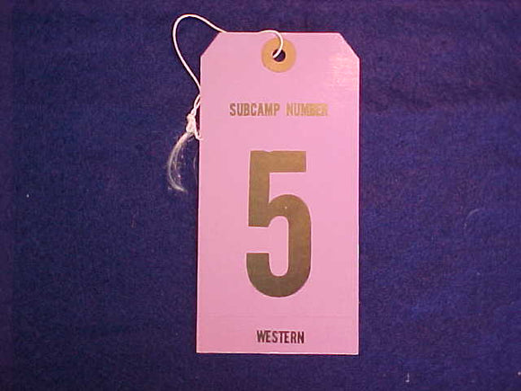 1977 NJ BAGGAGE TAG, WESTERN REGION SUBCAMP 5