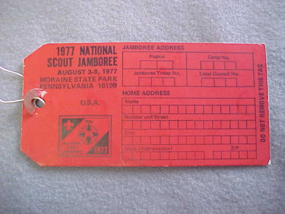1977 NJ BAGGAGE TAG, RED, BLANK BACK