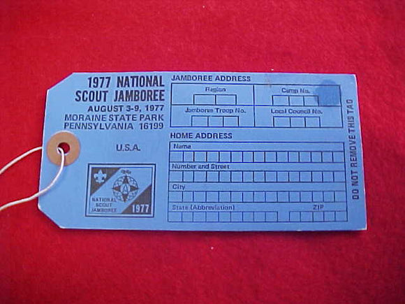 1977 NJ BAGGAGE TAG, BLUE, BLANK BACK