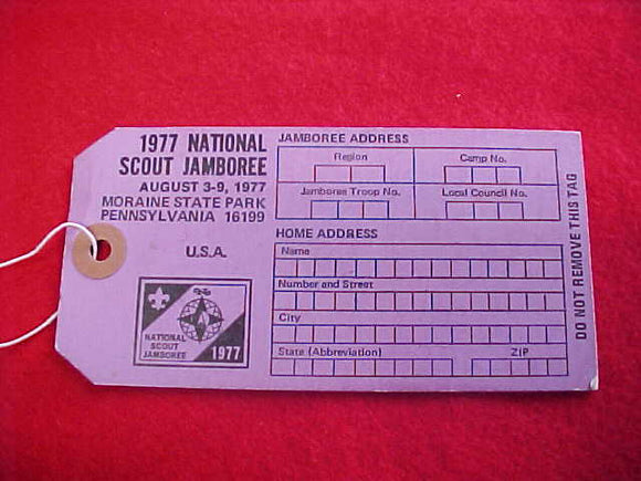 1977 NJ BAGGAGE TAG, PURPLE, BLANK BACK