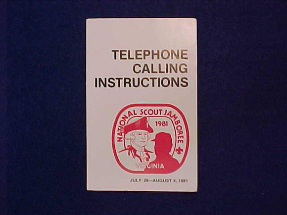 1981 NJ TELEPHONE CALLING INSTRUCTIONS BOOKLET
