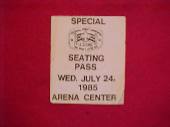 1985 NJ SPECIAL SEATING PASS, 7/24/85, USED