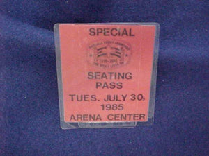 1985 NJ SPECIAL SEATING PASS, 7/30/85
