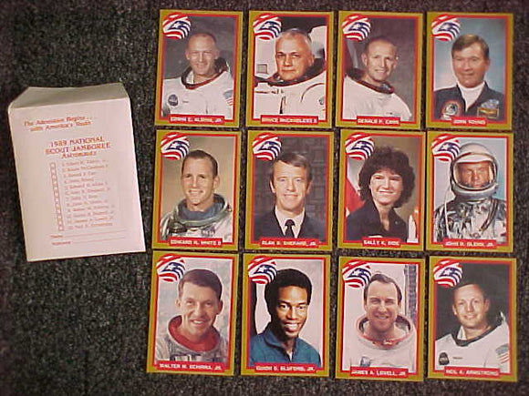 1989 NJ ASTRONAUT CARDS, COMPLETE SET OF 12 W/ ENVELOPE