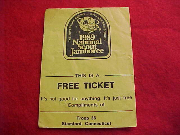 1989 NJ FREE TICKET, TROOP 36, STAMFORD, CONNECTICUT