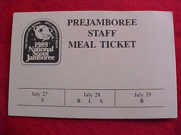 1989 NJ MEAL TICKET, PRE-JAMBOREE, STAFF