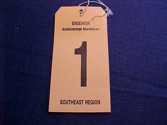 1989 NJ BAGGAGE TAG, SOUTHEAST REGION, SUBCAMP 1