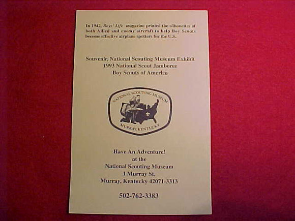 1993 NJ EXHIBIT CARD, NATIONAL SCOUTING MUSEUM