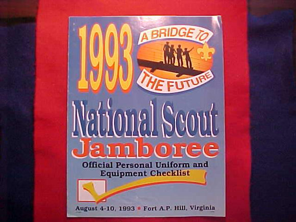 1993 NJ CHECKLIST, OFFICIAL PERSONAL UNIFORM AND EQUIPMENT