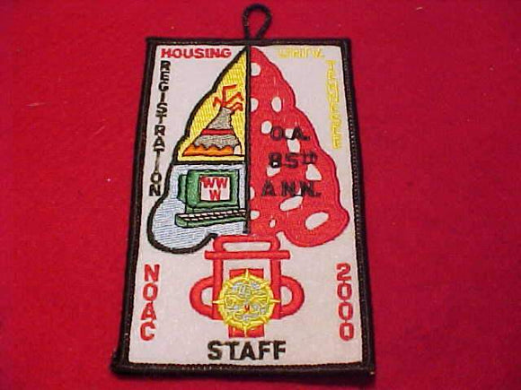 2000 NOAC PATCH, HOUSING REGISTRATION, STAFF, UNIV. TENNESSEE, BLACK BDR.