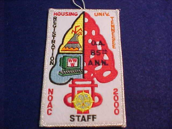 2000 NOAC PATCH, HOUSING REGISTRATION, STAFF, UNIV. TENNESSEE, SMY BDR.
