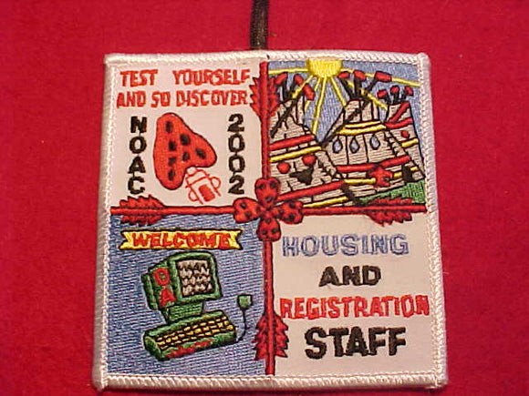 2002 NOAC PATCH, HOUSING & REGISTRATION STAFF, WHITE BDR.