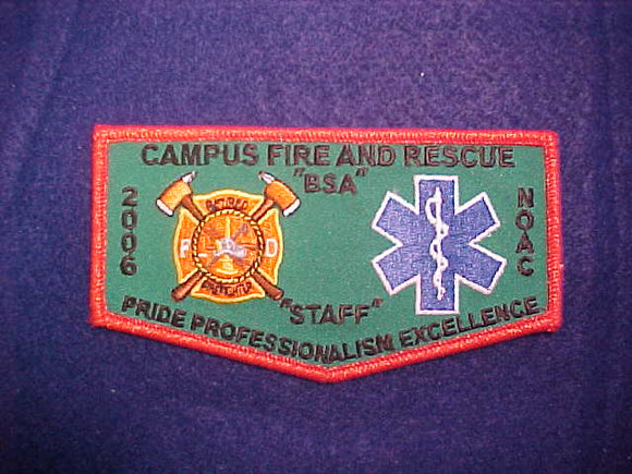 2006 NOAC FLAP, CAMPUS FIRE AND RESCUE STAFF, RED MYLAR BORDER