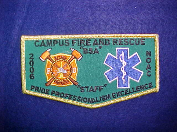 2006 NOAC FLAP, CAMPUS FIRE AND RESCUE STAFF, GOLD MYLAR BORDER