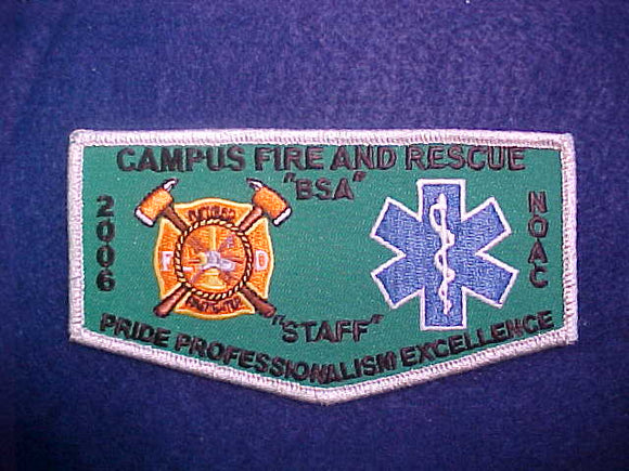 2006 NOAC FLAP, CAMPUS FIRE AND RESCUE STAFF, SILVER MYLAR BORDER