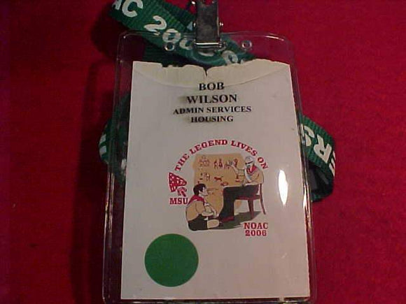 2006 NOAC ID + LANYARD, ADMIN. SERVICES HOUSING, MSU, USED