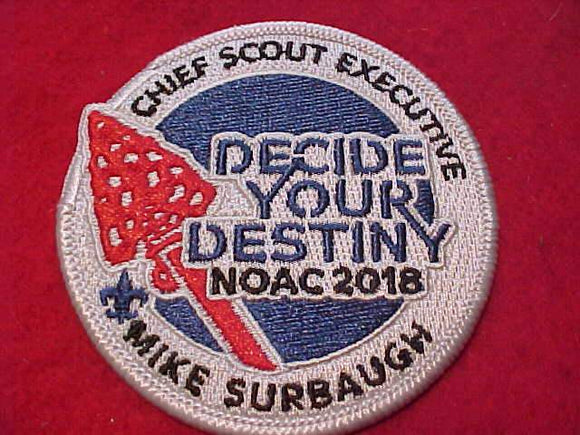 2018 NOAC PATCH, CHIEF SCOUT EXECUTIVE MIKE SURBAUGH