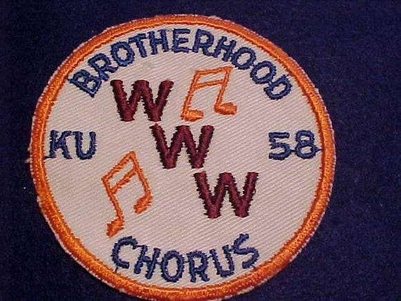 1958 NOAC PATCH, BROTHERHOOD CHORUS, VERY RARE, MINT