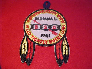 1961 NOAC PATCH, OFFICIAL W/ BUTTON LOOP, INDIANA U.