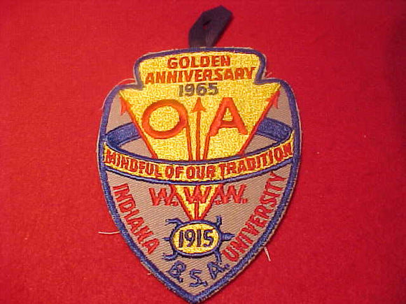1965 NOAC PATCH, OFFICIAL W/ BUTTON LOOP