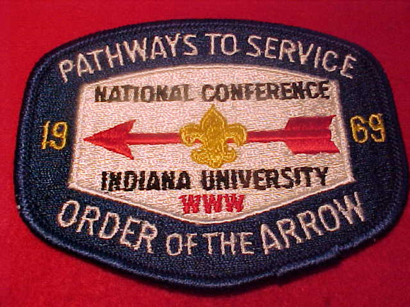 1969 NOAC PATCH, OFFICIAL, INDIANA UNIV.