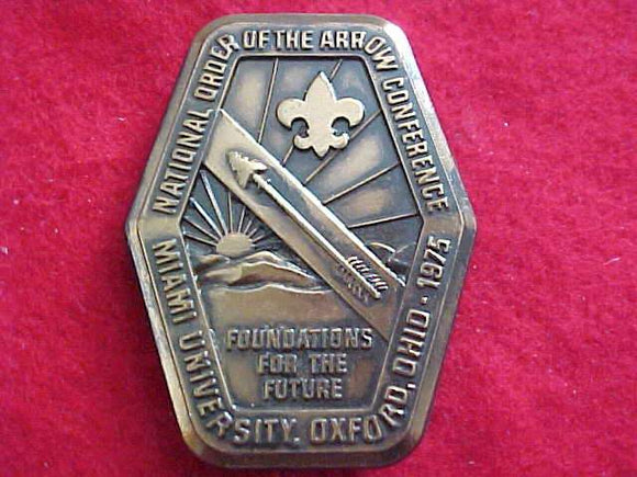 1975 NOAC BELT BUCKLE, MIAMI UNIV.- OXFORD, OHIO, BRASS