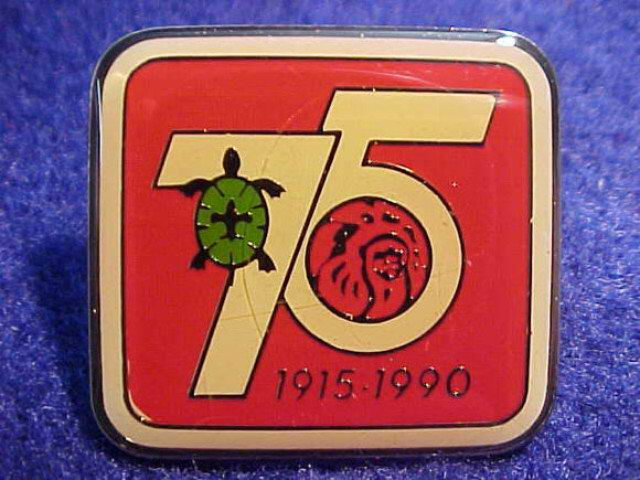 1990 NOAC PIN, 75TH ANNIV., METAL