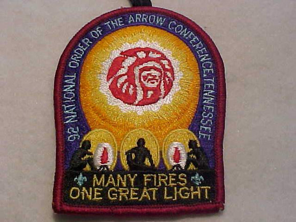 1992 NOAC PATCH, TENNESSEE, W/ BUTTON LOOP