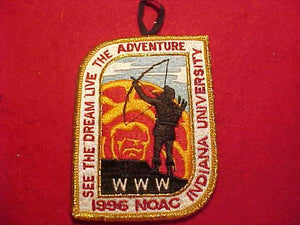 1996 NOAC PATCH, INDIANA UNIVERSITY, W/ BUTTON LOOP