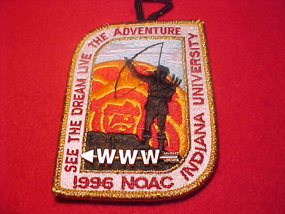 1996 NOAC PATCH & PIN, PATCH W/ BUTTON LOOP, GOLD MYL. BDR., PARTICIPANT PIN ATTACHED