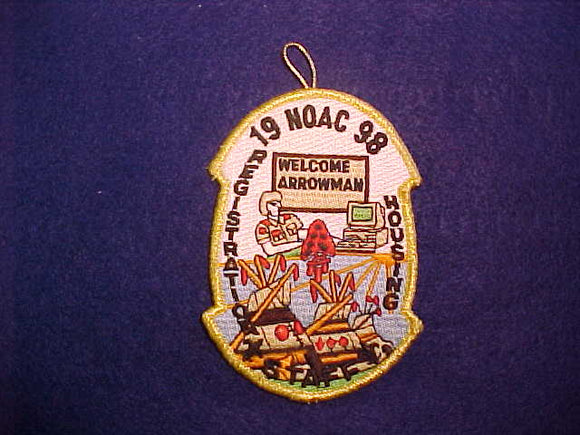 1998 NOAC PATCH, REGISTRATION STAFF, GOLD MYLAR BORDER