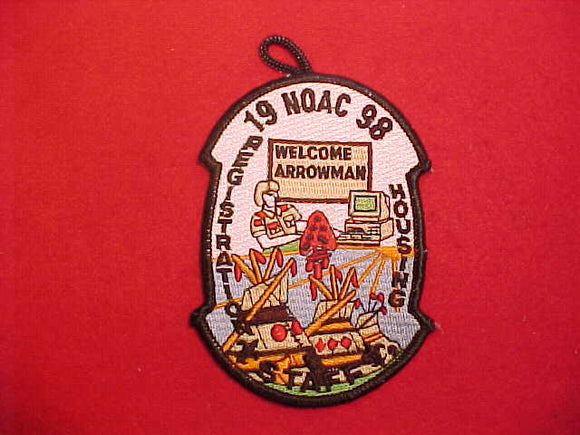 1998 NOAC PATCH, REGISTRATION STAFF, BLACK BORDER