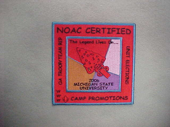 2006 NOAC CERTIFIED OA TROOP/TEAM REP JACKET PATCH