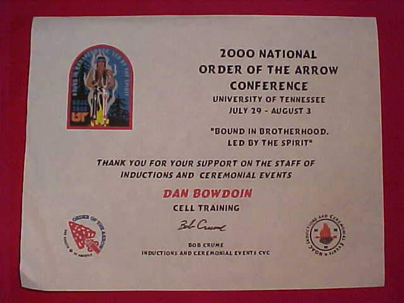 2000 NOAC CERTIFICATE, STAFF CELL TRAINING