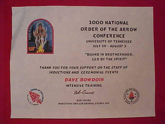 2000 NOAC CERTIFICATE, STAFF INTENSIVE TRAINING
