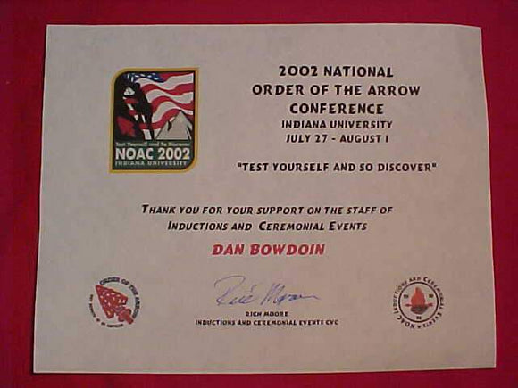 2002 NOAC CERTIFICATE, INDUCTIONS AND CEREMONIAL EVENTS STAFF