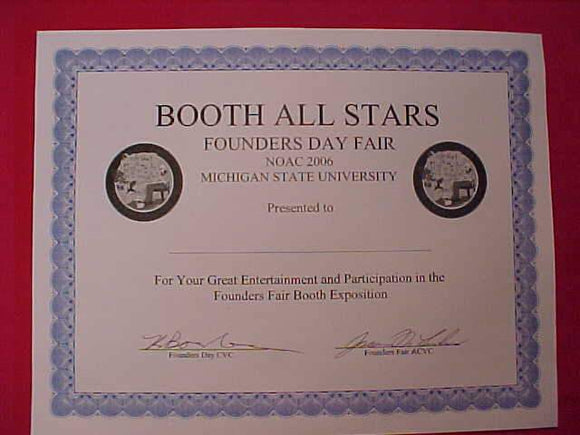 2006 NOAC CERTIFICATE, FOUNDERS DAY FAIR BOOTH EXPOSITION